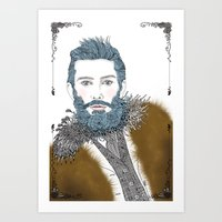 beard Art Prints featuring beard by katiwo
