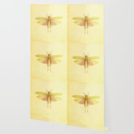 Vintage Inspired Pastel Yellow Salmon Butterfly Wallpaper