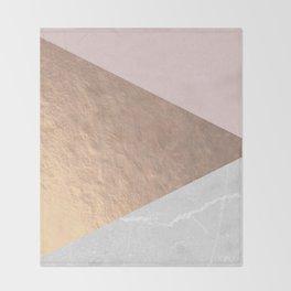 Geo tri - rose gold & concrete Throw Blanket