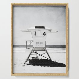 Black and White Beach Photography, Grey Lifeguard Stand, Gray Coastal Nautical Art Serving Tray