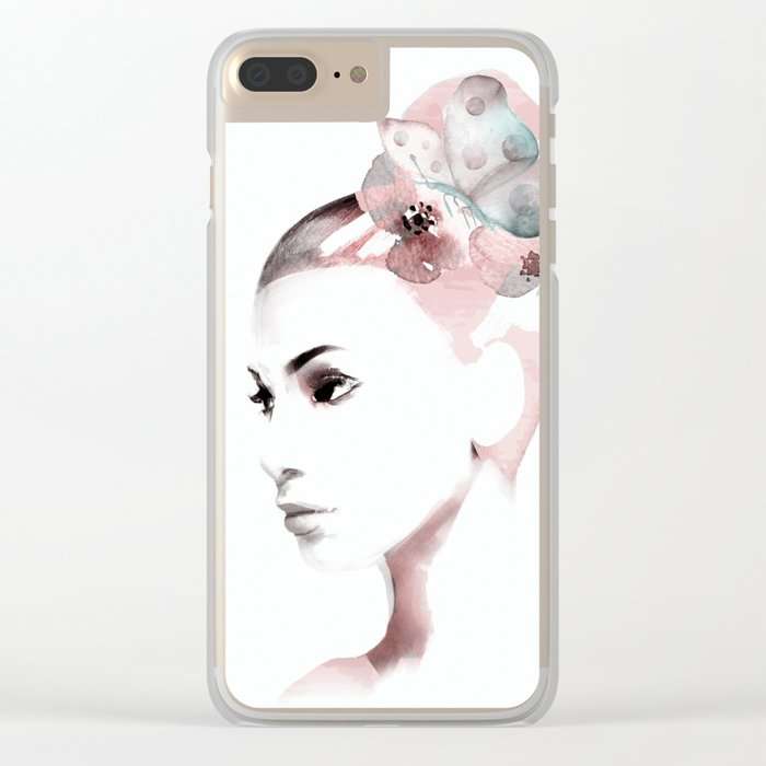 Woman with butterfly Clear iPhone Case