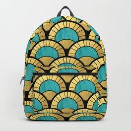 Duck Egg Green Art Deco Fan Pattern Backpack