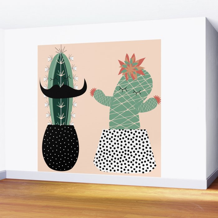 Mr. and Mrs Succulent Wall Mural