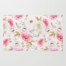 Pink and Cream Pastel Flowers Rug