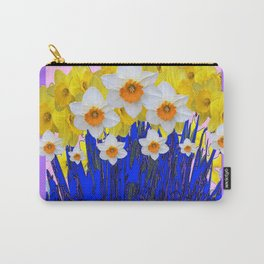 DECORATIVE YELLOW & WHITE DAFFODILS PURPLE BLUE ART Carry-All Pouch