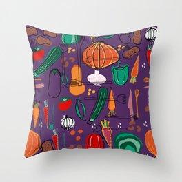 fall veggies purple Throw Pillow