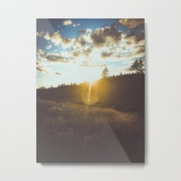 sunset slanted in a field Metal Print