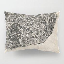 lisbon map ink lines Pillow Sham