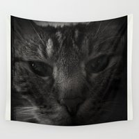 sofa Wall Tapestries featuring Sofa Loaf Face BW by Nearlycanadian