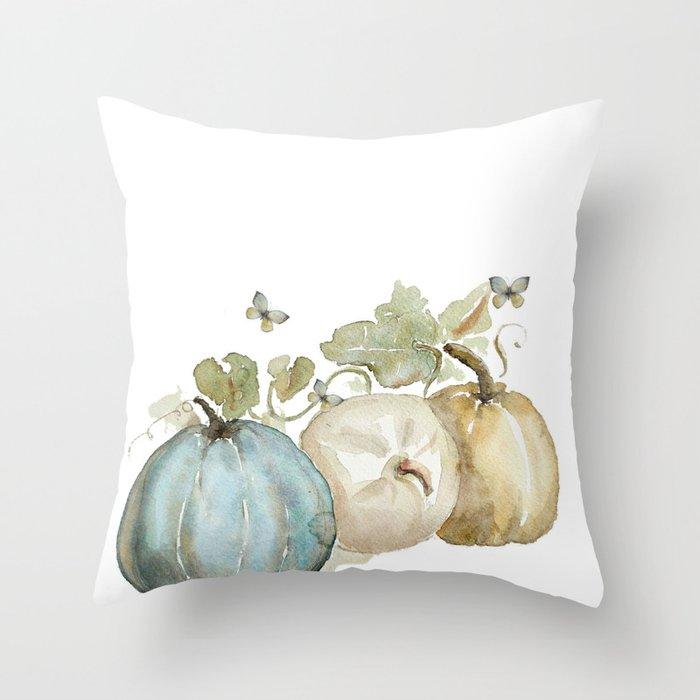 Watercolor neutral pumpkin  Throw Pillow