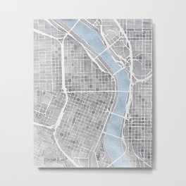 Portland Oregon watercolor city map art Metal Print