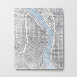 Portland Oregon watercolor city map art Metal Print