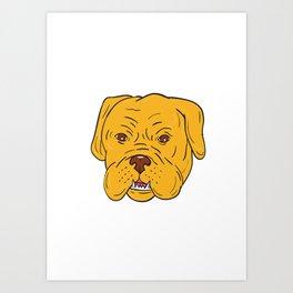 Bordeaux Dog Head Cartoon Art Print