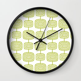 Mid Century Modern Atomic Rings Pattern Chartreuse 3 Wall Clock