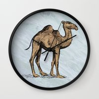 salt water Wall Clocks featuring CAMEL - SALT WATER #2 by Agustin Flowalistik