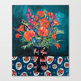 California Poppy and Wildflower Bouquet on Emerald with Tigers Still Life Painting Canvas Print
