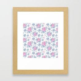Tropical pink blue watercolor flamingo floral Framed Art Print