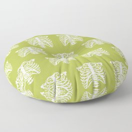 Human Rib Cage Pattern Chartreuse Green Floor Pillow