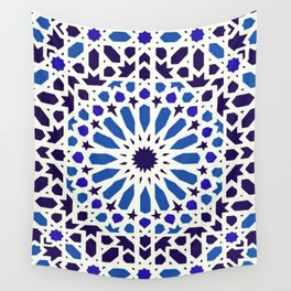 V19 Epic Light Blue Traditional Moroccan Pattern Design . Wall Tapestry