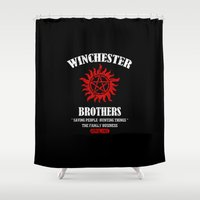winchester Shower Curtains featuring Winchester Brothers by Yiannis
