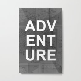 Adventure Travel Map Metal Print