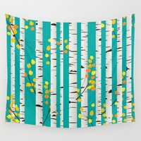 birch Wall Tapestries featuring Birch wood by Rceeh