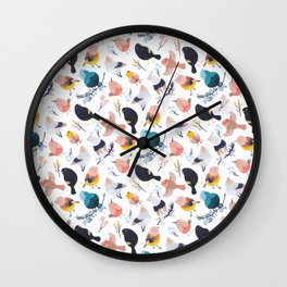 Colorful Little Birds Floral Botanical Paradise Watercolor Wall Clock