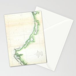 Vintage Florida Panhandle Coastal Map (1852) Stationery Cards