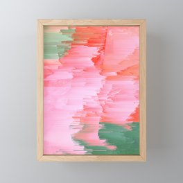 Romance Glitch - Pink & Living coral Framed Mini Art Print
