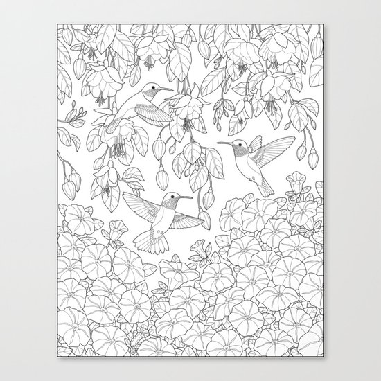 Hummingbirds and Flowers Coloring Page Canvas Print