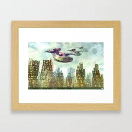 Downtown Spaceships Framed Art Print