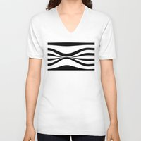 stripe V-neck T-shirts featuring Stripe Bend by Julie Maxwell