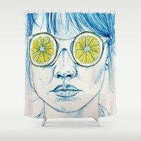 lady Shower Curtains featuring Lemon Lady by KatePowellArt