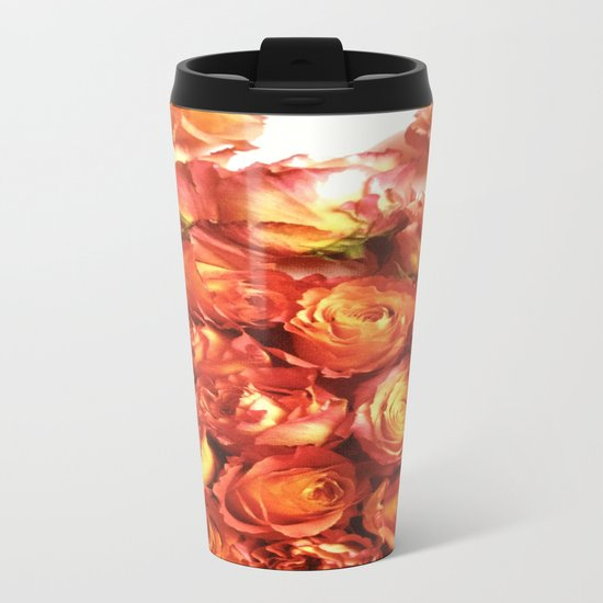 Cluster Of Orange Roses Metal Travel Mug