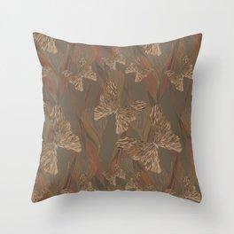 Brown Butterflies on Braids Throw Pillow