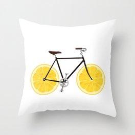 Lemon Bike Throw Pillow