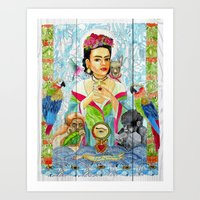 frida khalo Art Prints featuring Frida Khalo by Rose Draft