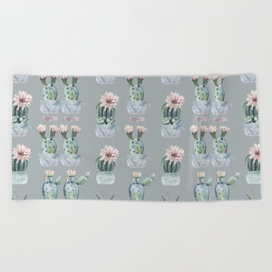 Potted Cactus Plants Gray Beach Towel