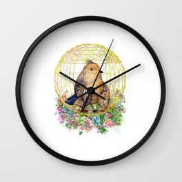 Birds in Cage Wall Clock
