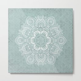 Mandala Temptation in Rustic Sage Color Metal Print