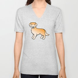 Yellow Golden Retriever Breed Dog Cute Cartoon Illustration Unisex V-Neck