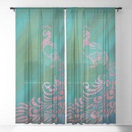 Whimsical Pink Peacock Against Teal Digital Illustration Circles - Polka Dots Sheer Curtain