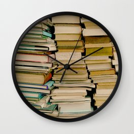 Books in Paris by Lika Ramati Wall Clock