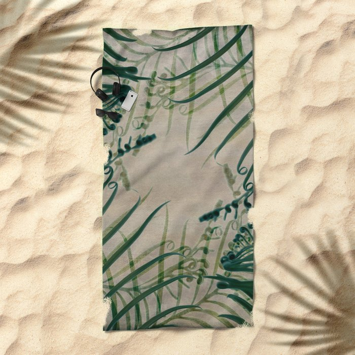 Cycas Leaves Abstract Beach Towel