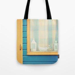 Beach Hut window- orange Tote Bag
