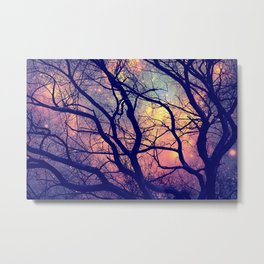 Black Trees Deep Pastels Space Metal Print
