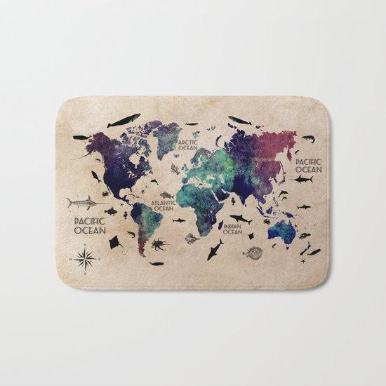 Oceans Life World Map #map #worldmap Bath Mat