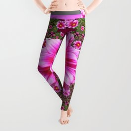 Abstracted  Fuchsia Dahlias Geometric Stylized Floral Grey Garden Leggings