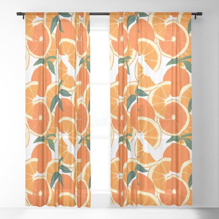Orange Harvest - White Sheer Curtain