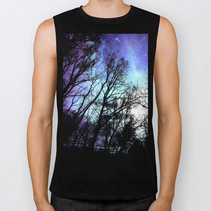 black trees periwinkle blue aqua space Biker Tank